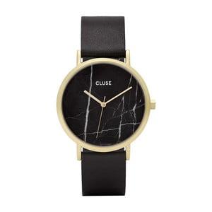 Dámske čierne hodinky s koženým remienkom a mramorovým ciferníkom Cluse La Roche Rose