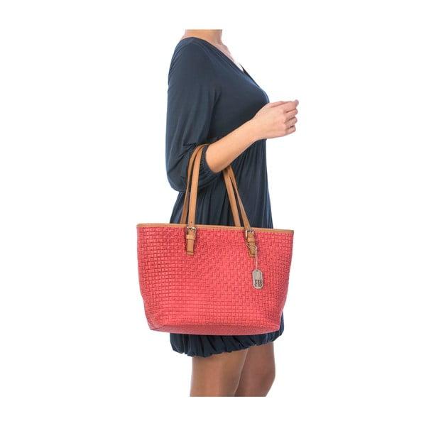 Červená kožená kabelka Federica Bassi Alya