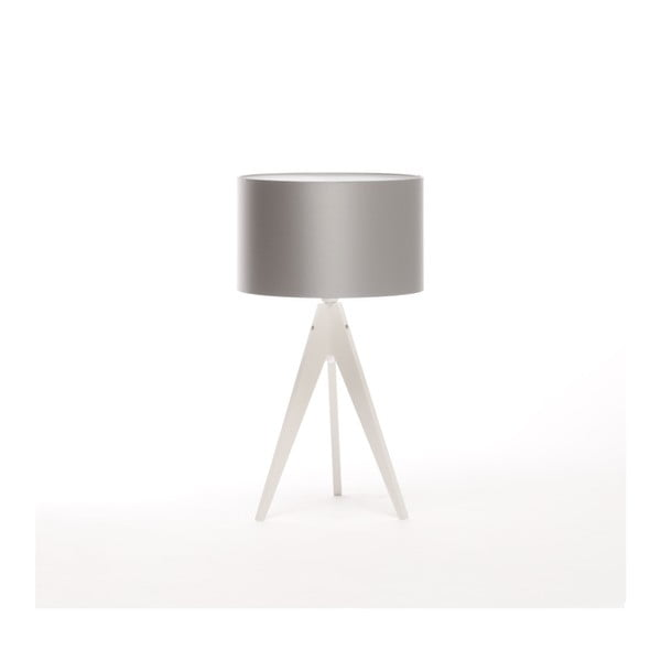 Strieborná stolová lampa 4room Artist, biela lakovaná breza, Ø 33 cm