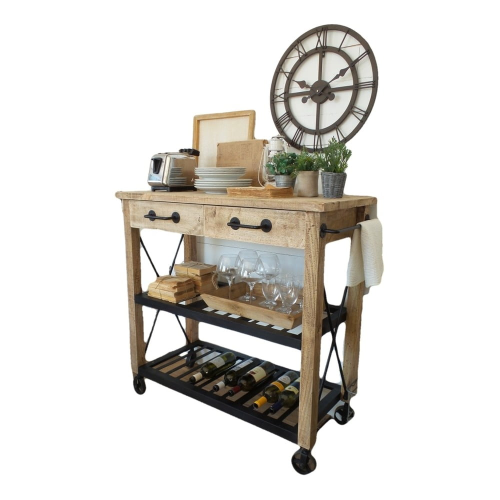 Kuchynský stolík na kolieskach z mangového dreva Orchidea Milano Industrial