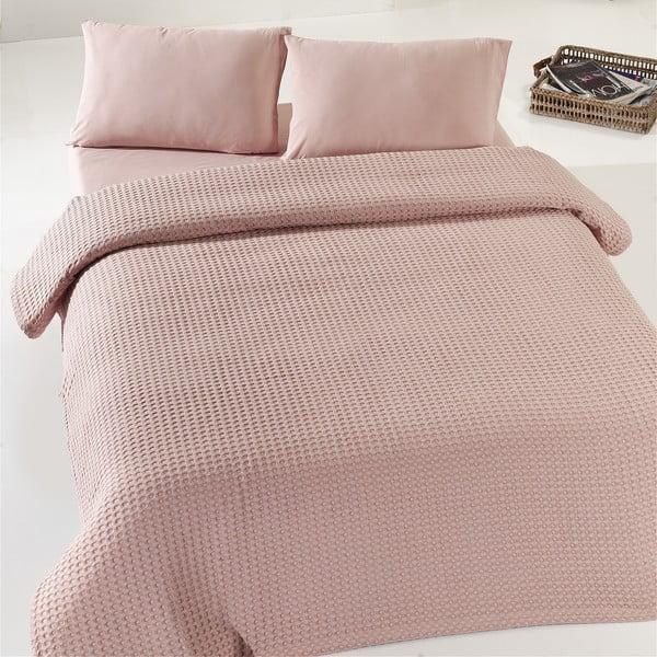 Béžovoružová ľahká prikrývka cez posteľ Dusty Rose Pique, 200x240cm