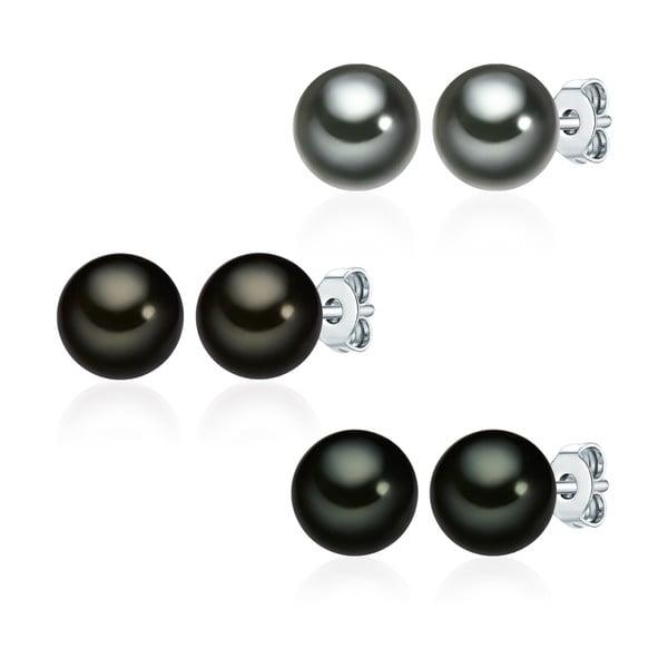 Sada 3 náušníc so zelenohnedou perlou Perldesse Muschel, ⌀ 8 mm