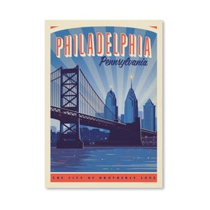 Plagát Americanflat Philly Skyline, 42 x 30 cm