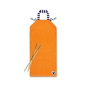 Oranžové plážové ležadlo Origama Blue Stripes
