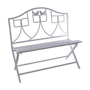 Biela kovová skladacia záhradná lavica Ewax