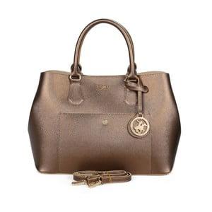 Hnedá kabelka z eko kože s medenými odleskami Beverly Hills Polo Club Mona
