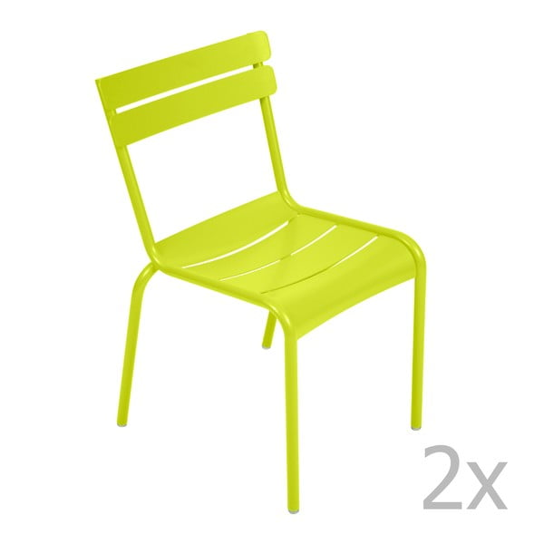Sada 2 limetkovozelených stoličiek Fermob Luxembourg