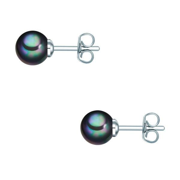 Perlové náušnice Muschel, antracitová perla 6 mm