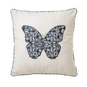 Biely vankúš z bavlny s motívom motýľa Unimasa, 45 x 45 cm