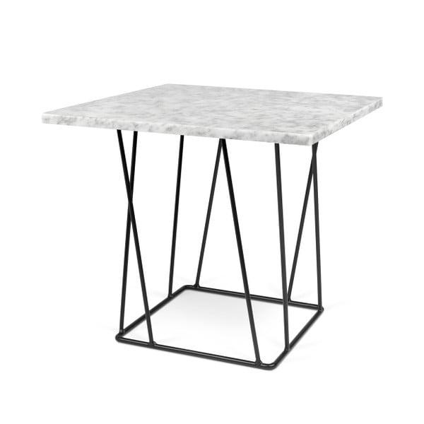 Biely mramorový konferenčný stolík s čiernymi nohami TemaHome Helix, 50cm