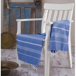 Modrá bavlnená osuška Hammam Sultan, 100×180cm
