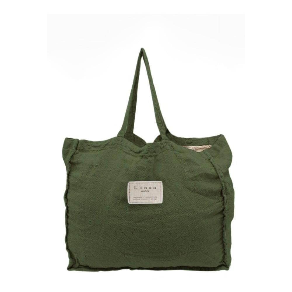 Látková taška Linen Couture Green Moss, šírka 50 cm