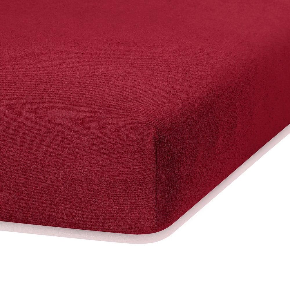 TmavoČervená elastická plachta s vysokým podielom bavlny AmeliaHome Ruby, 200 x 160-180 cm