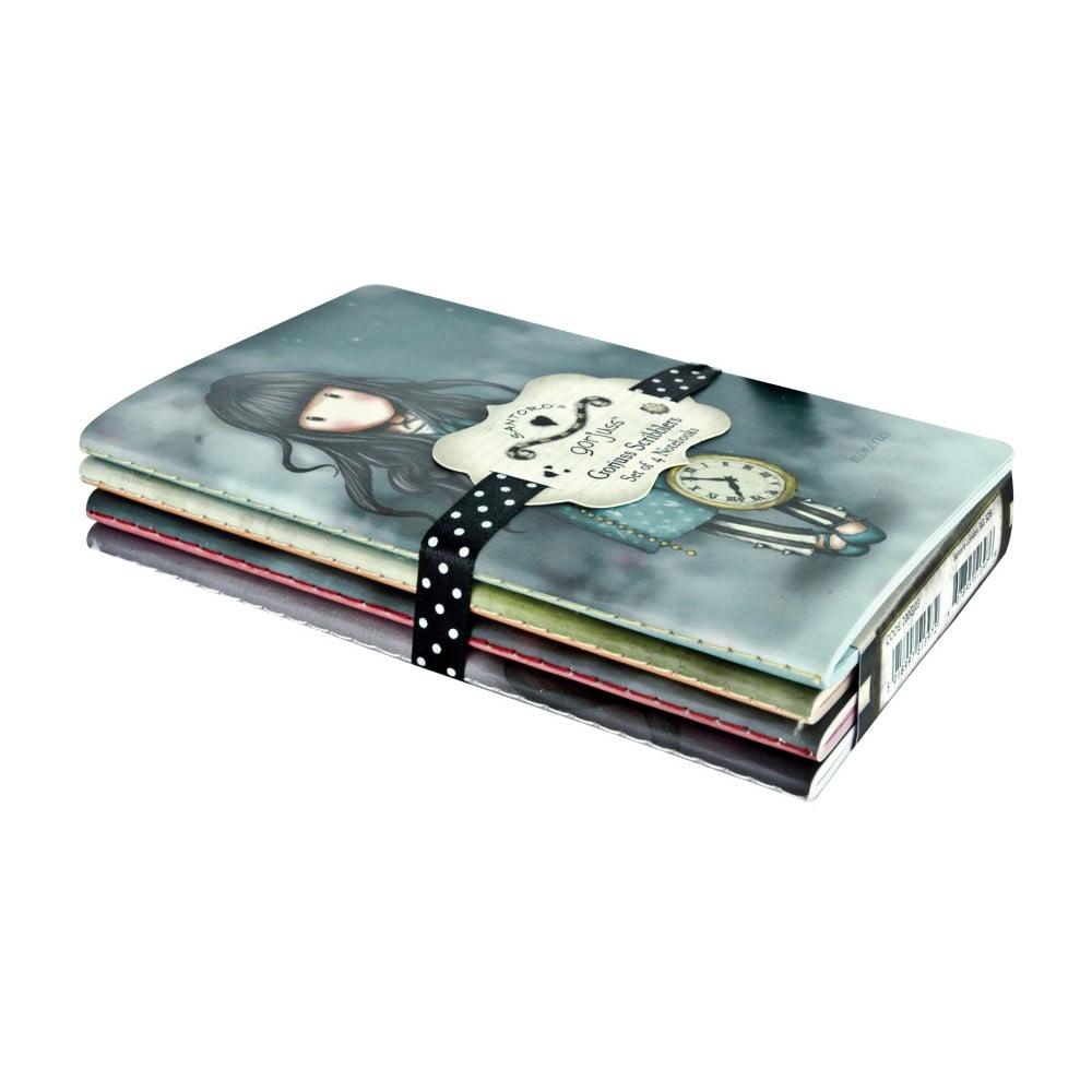 Sada 4 zápisníkov Santoro London Scribbles