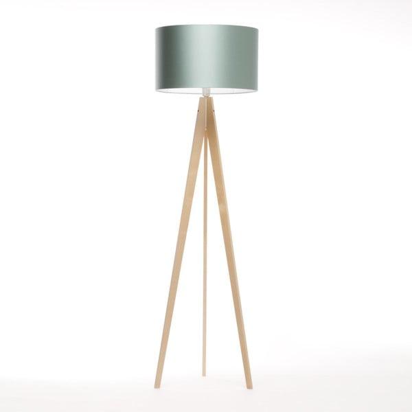 Oceľovomodrá stojacia lampa Artist, breza, 150 cm