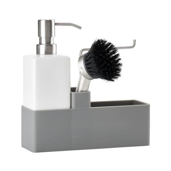 Sivo-biely trojdielny set na umývanie riadu Zone Trio