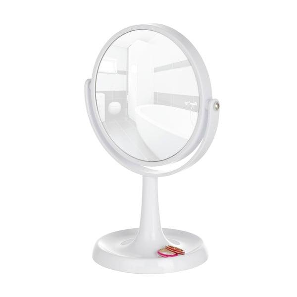 Biele kozmetické stojacie zrkadlo Wenko Rosolina, výška 28cm