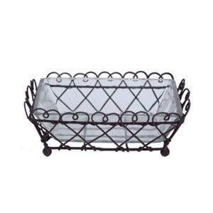Hnedý kovový košík so sklom Ego Dekor Bella