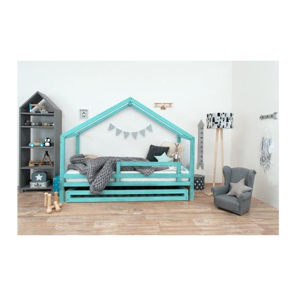 Tyrkysová detská posteľ z lakovaného smrekového dreva Benlemi Sidy, 80 × 180 cm