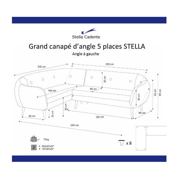 Tmavožltá rohová trojmiestna pohovka Scandi by Stella Cadente Maison, ľavý roh