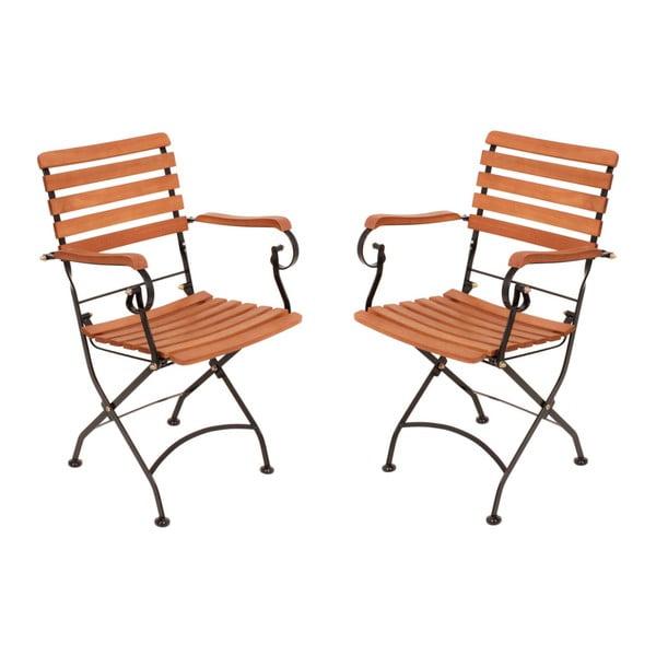 Sada 2 záhradných skladacích stoličiek z eukalyptového dreva ADDU Vienna