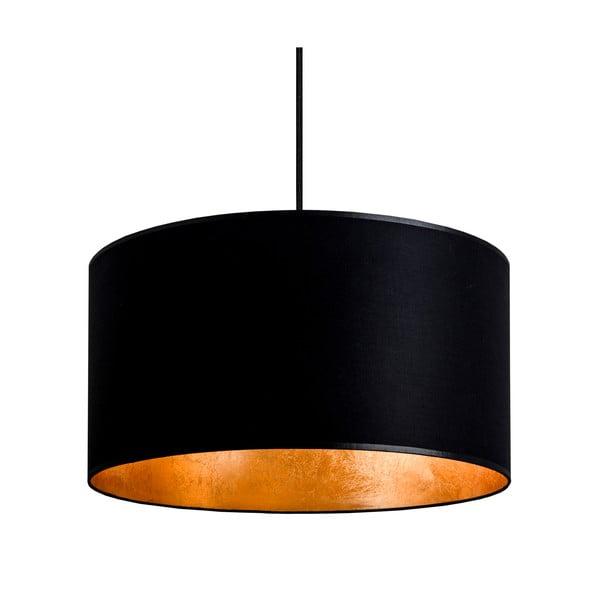 Stropná lampa Tres, čierna/zlatá, priemer 36 cm