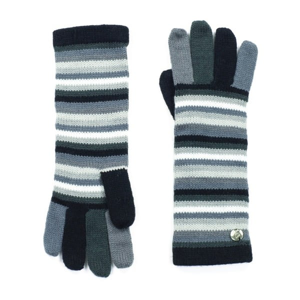 Sivé pruhované rukavice Bella