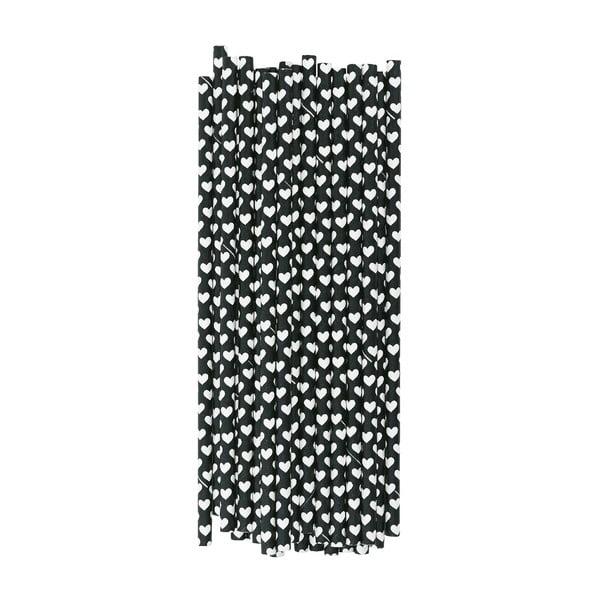 Balenie 25 papierových slamiek Black Hearts