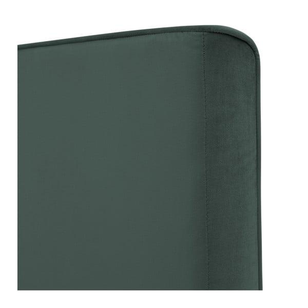Petrolejovo zelená posteľ s čiernymi nohami Vivonita Kent, 140 × 200 cm
