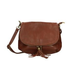 Hnedá kožená kabelka Chicca Borse Marrone
