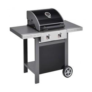 Čierny plynový gril s 2 samostatne ovládateľnými horákmi a teplomerom Jamie Oliver BBQ