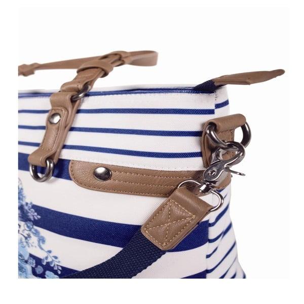 Modro-biela kabelka Lois, 34 x 24 cm