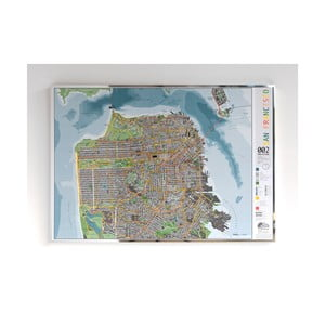 Magnetická mapa San Francisca The Future Mapping Company San Francisco City, 100 x 70 cm
