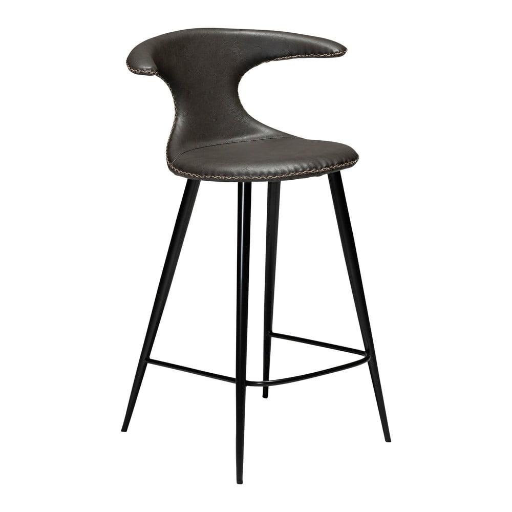 Tmavosivá barová stolička z eko kože DAN–FORM Denmark Flair, výška 90 cm