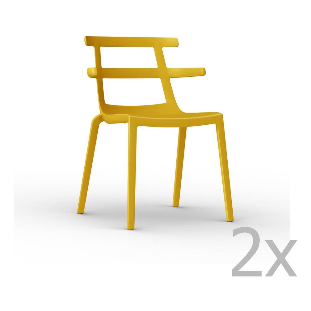 Sada 2 žltých záhradných stoličiek Resol Tokyo
