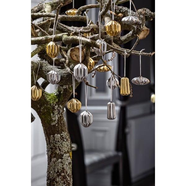 Sada 4 vianočných dekorácií KJCollection Ceramic Silver