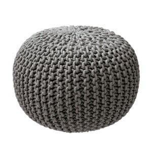 Sivý pletený puf ZicZac
