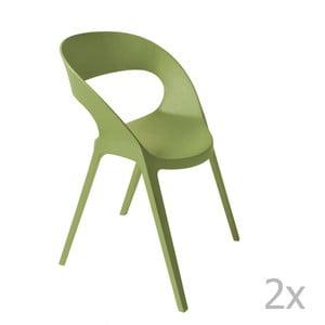Sada 2 zelených záhradných stoličiek Resol Carla