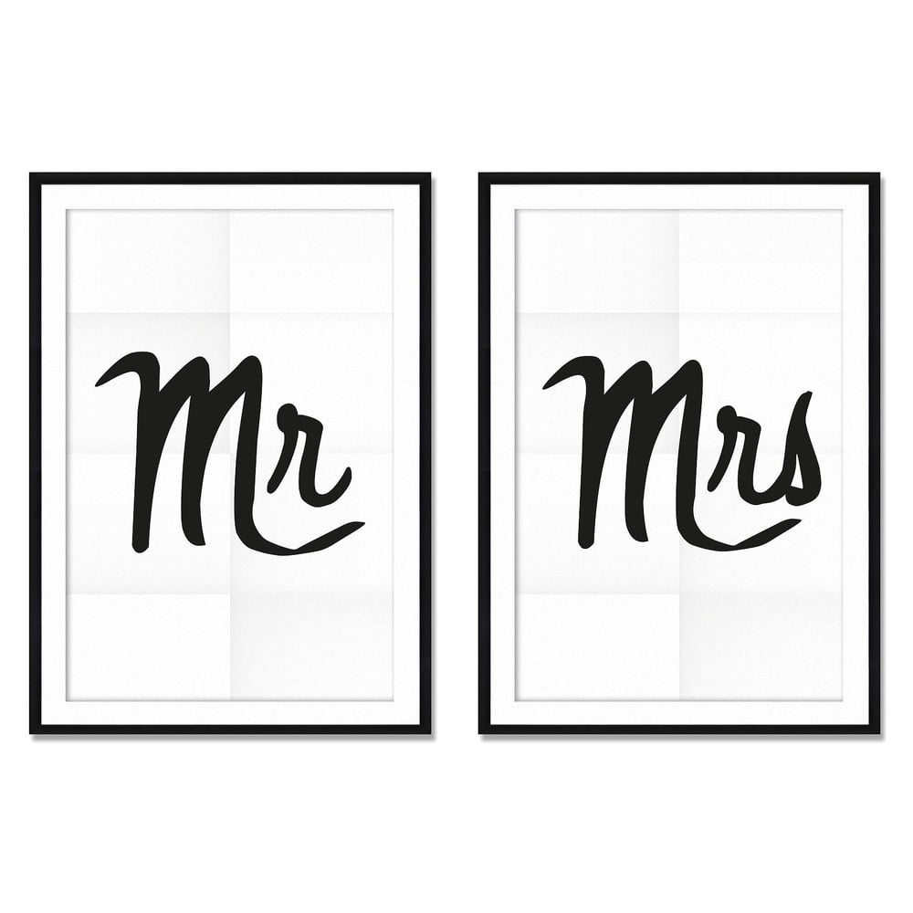 Sada 2 obrazov Really Nice Things Mr&Mrs, 40 × 60 cm