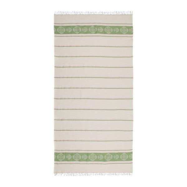 Zeleno-béžová hammam osuška Deco Bianca Loincloth Smeh Green, 80x170cm