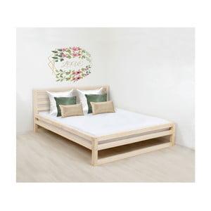 Drevená dvojlôžková posteľ Benlemi DeLuxe Naturaleza, 200 × 160 cm