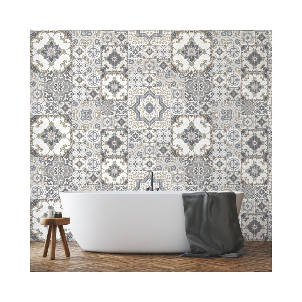 Sada 60 nástenných samolepiek Ambiance Wall Stickers Tiles Azulejos Taiga, 15 × 15 cm