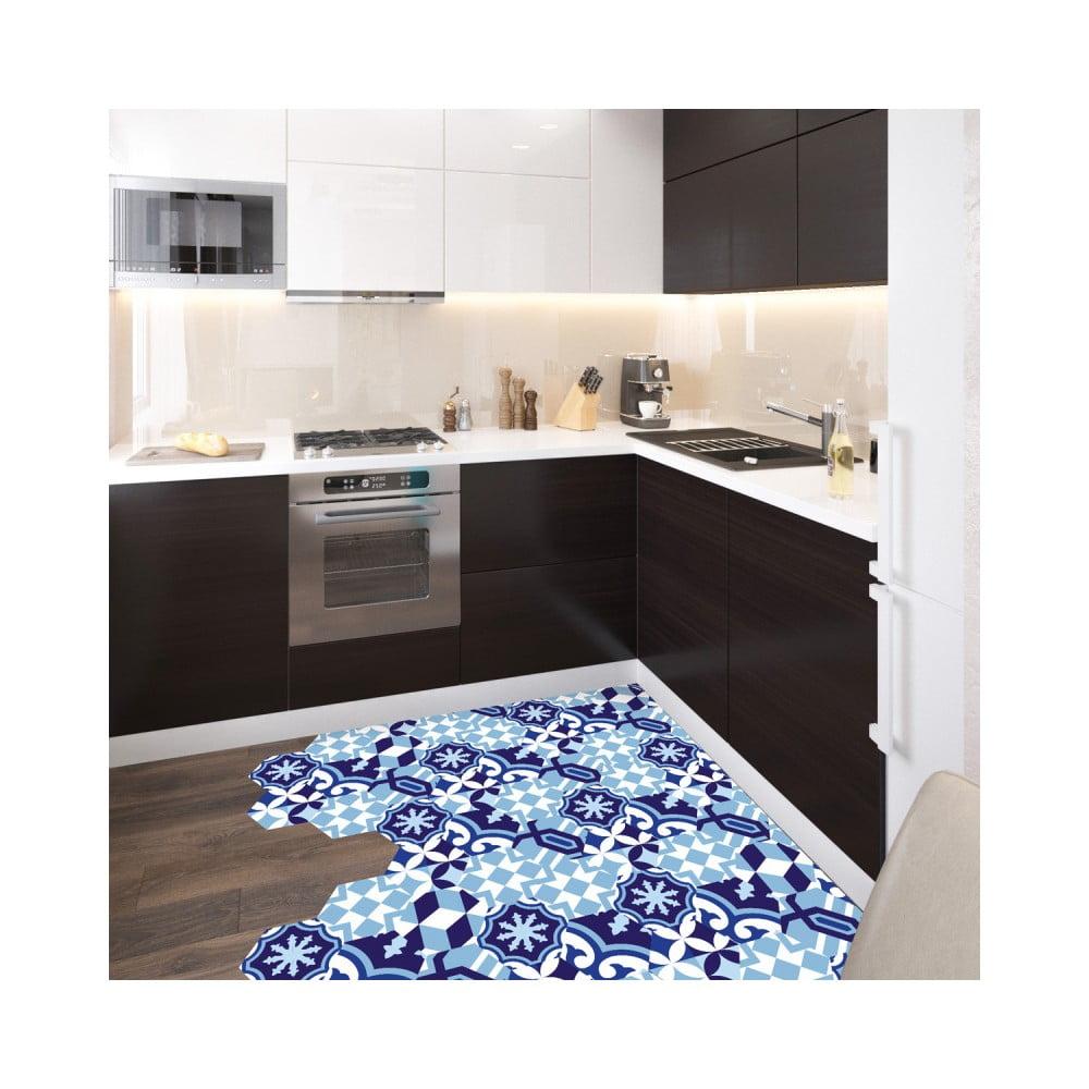 Sada 10 samolepiek na podlahu Ambiance Floor Stickers Hexagons Emiliana Azul, 40 × 90 cm