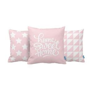 Sada 3 vankúšov Home Sweet Home, 43x43 cm, ružová