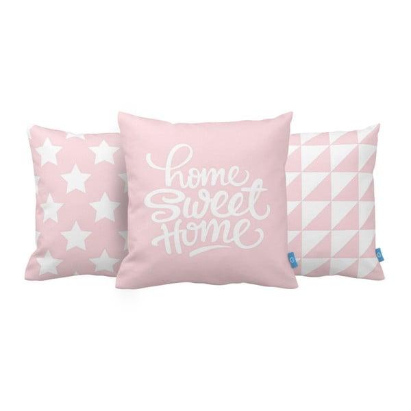 Sada 3 ružových vankúšov Homemania Home Sweet Home, 43 x 43 cm
