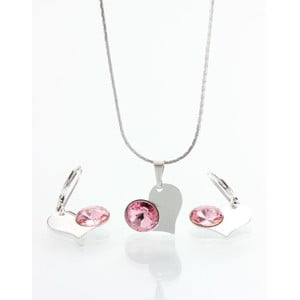 Set náhrdelníka a náušníc so Swarovski krištáľmi Yasmine Pink Heart