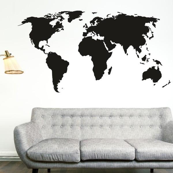 Samolepka na stenu Veľká mapa sveta, čierna