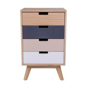 Farebná drevená komoda so 4 zásuvkami House Nordic Milano