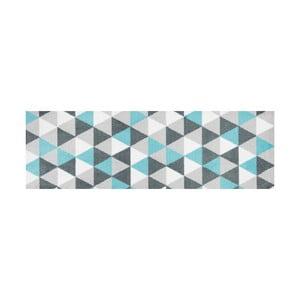 Modro vzorovaný behúň White Label Geo, 150×50 cm
