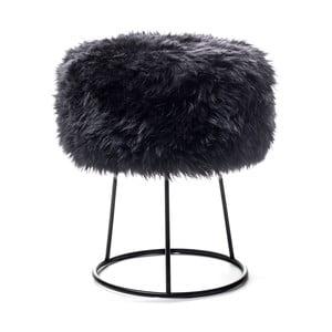 Stolička s čiernym sedadlom z ovčej kožušiny Royal Dream, ⌀ 36 cm